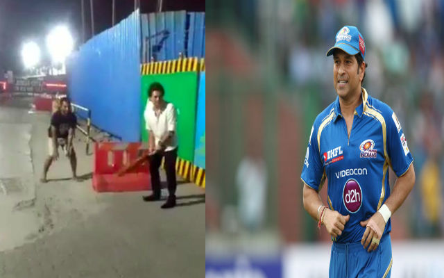 Sachin Tendulkar Plays some gully cricket with hotel waiters, Watch Video!!