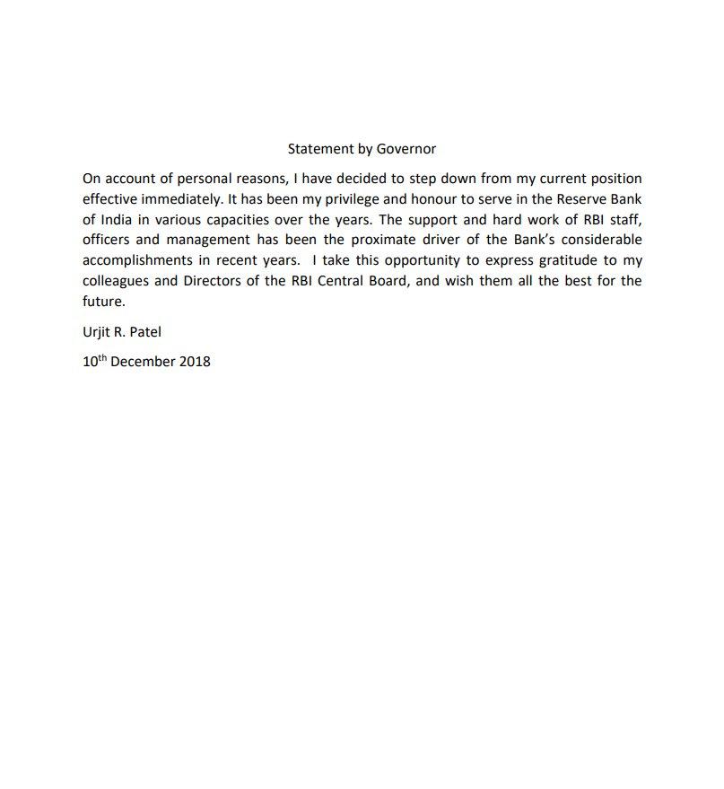 Urjit resigns