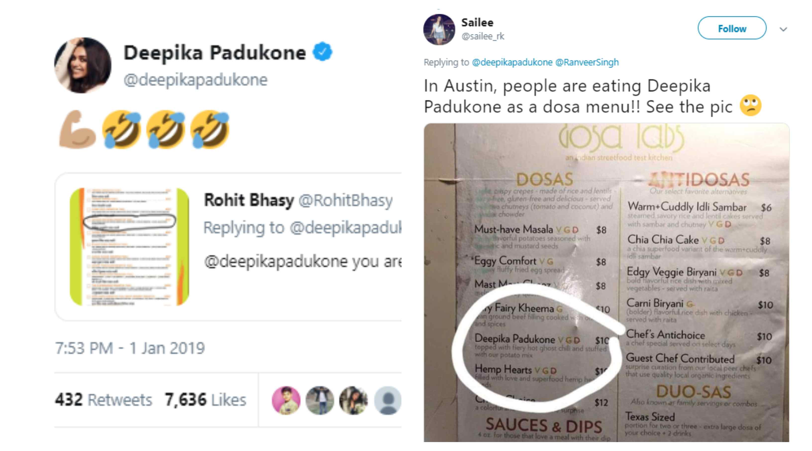 Olalla !! Deepika Padukone now popular in food menu also, from dosa to paratha