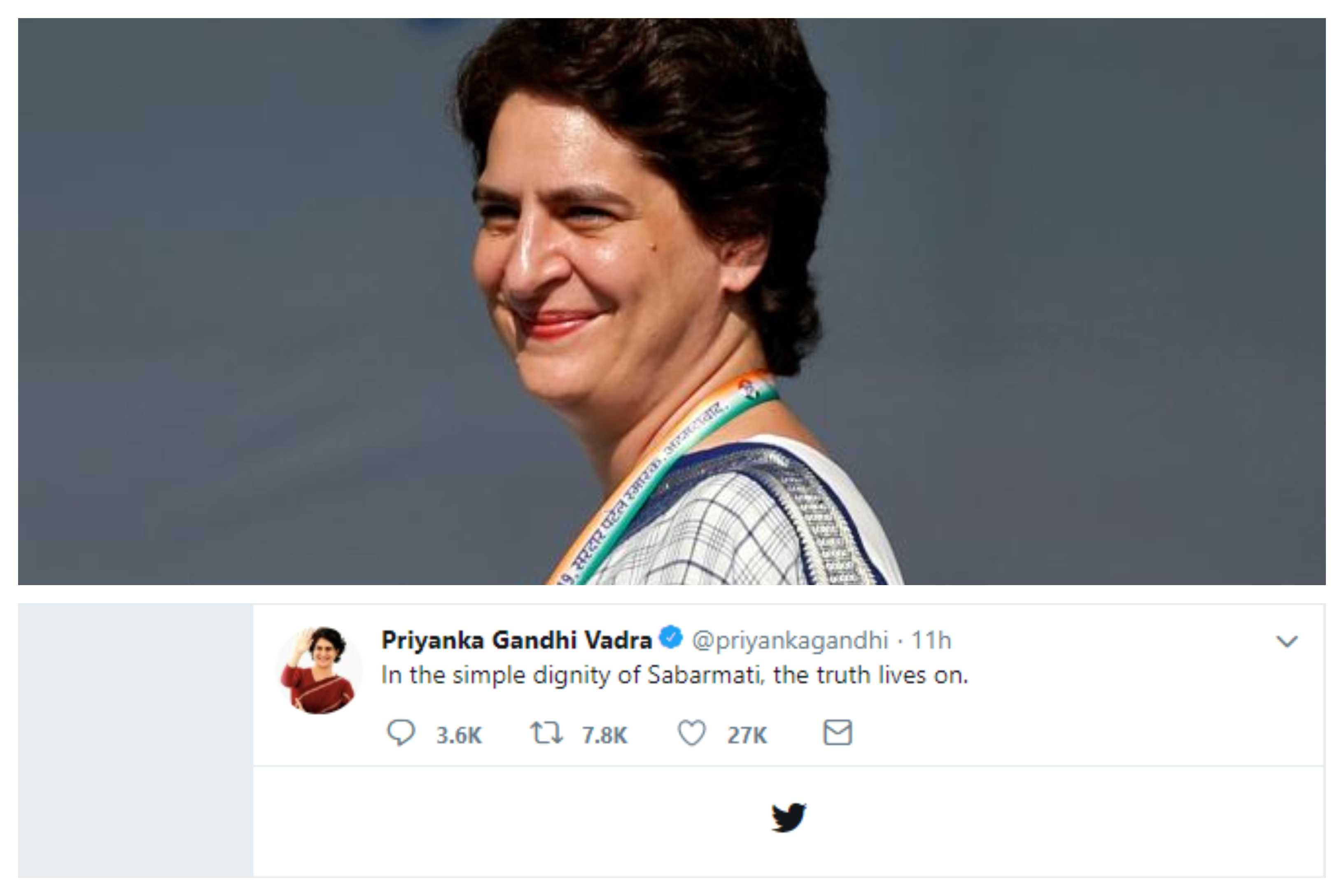 Priyanka gandhi first tweet