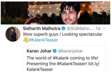 Sidharth Malhotra reaction on Kalank teaser