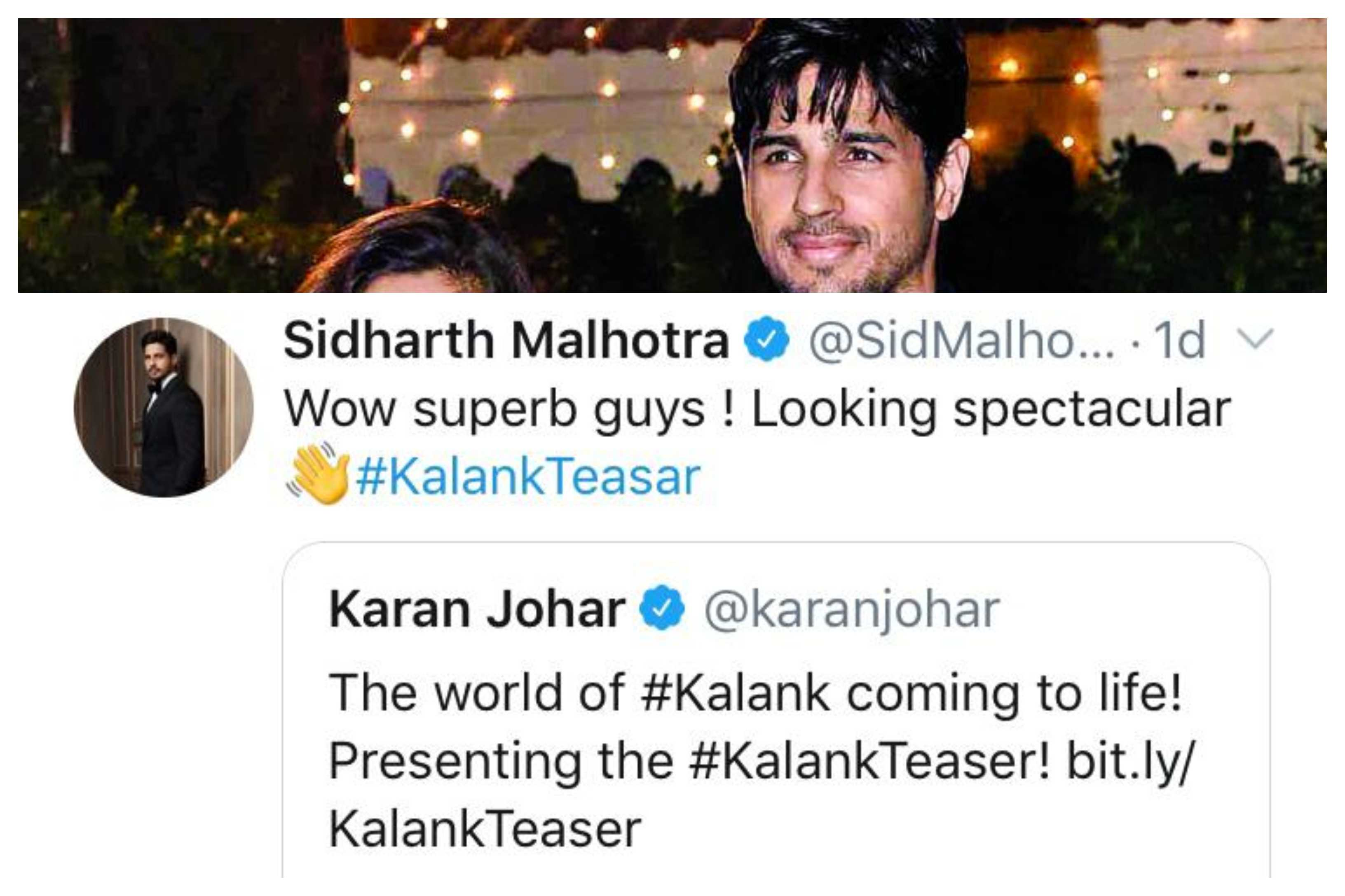 Sidharth Malhotra reaction on Kalank teaser
