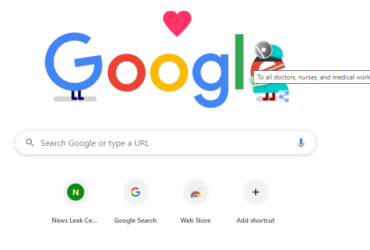 Google doodle thanking medical professionals