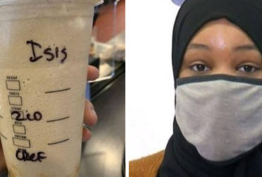 muslim woman gets ISIS coffee cup