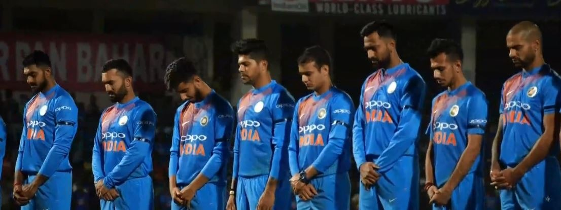 Indian player wear black ribbon as a homage to martyrs