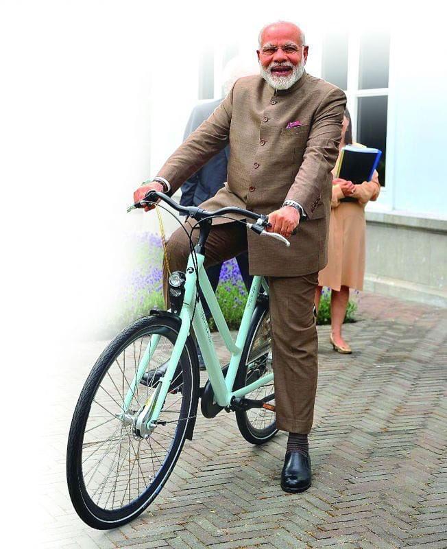 Prime Minister Narendra Modi riding the bicycle