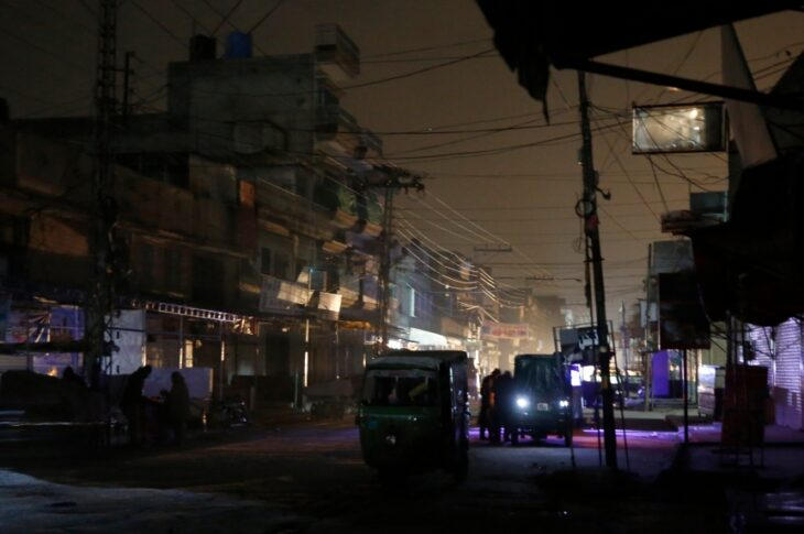 Blackouts usually occur in Pakistan due to chronic power shortages with many areas having no electricity for several hours a day.
