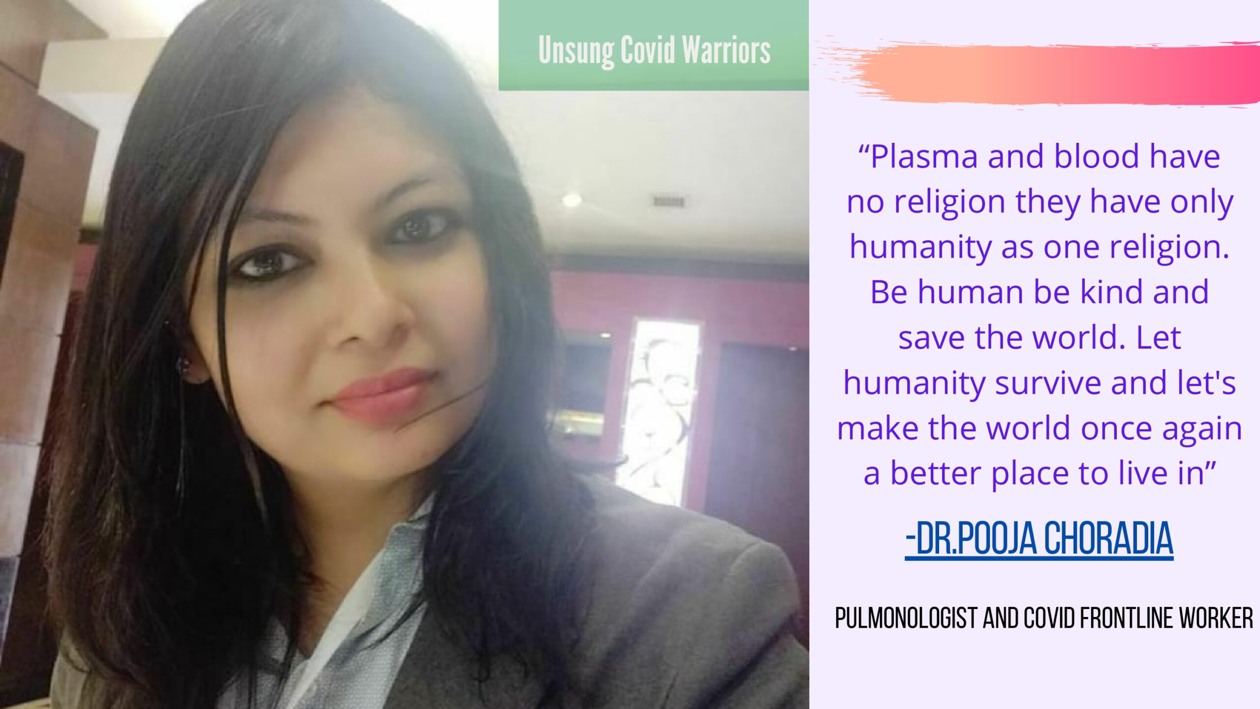 People like Dr.Pooja Choradia makes us believe in humanity as well as kindness. In this distressed time, one can surely reach out to Dr.Pooja through her twitter handle @LunghealthDoc and can get the help one needs because after all, Dr P's name is enough just as her twitter name says. We thank you Dr.P !